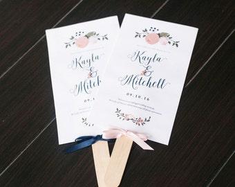 Floral Fan Wedding Program / printable program, floral, wedding program, modern calligraphy, diy wedding program, wedding fan printable