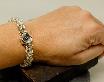 Sterling Silver Woven Chainmaille Bracelet with Flower Clasp - Ready To Ship