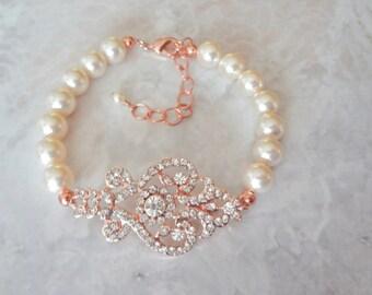 Rose gold pearl bracelet - Brides bracelet, Rose Gold Wedding bracelet, Swarovski pearl bracelet, Pearl bracelet, Rose gold, MIA