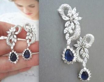 Clip on Sapphire earring, Cubic zirconia earrings, Clip-on earrings, Clip on brides earrings, Something blue, Clip on wedding earrings, KATE