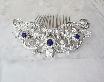 Brides hair comb, Blue Sapphire hair comb ~ Wedding hair comb, Hair Jewelry ~ Something blue hair comb ~Wedding accessories ~KATE