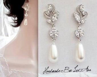 Pearl earrings, Marquise cut cubic zirconia earrings, Brides pearl earrings, Wedding earrings, Swarovski pearl earrings, High quality, LILLY