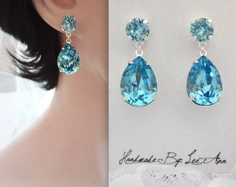 Aquamarine crystal earrings, Swarovski Crystal earrings, Crystal earrings, Brides earrings, Bridesmaids earrings, Wedding earrings, SOPHIA