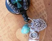 Horseshoe Lucky Turquoise Cross Designer Heart Charm ID Badge Name Tag Key Card Eyeglass Keys  Holder Lanyard Retractable Reel