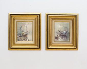 Vintage Impressionist Painting Set, Asian Junk Boats, Pastel Oil Paint