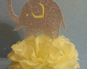 Elephant baby shower Silver or Gold 1st birthday party Table decor centerpiece you choose colors!