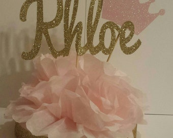 Blush Pink and Gold Personalized Name Centerpiece Princess 1st Birthday Party Baby shower table decor