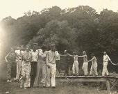 "Vintage Photo ""Follow The Leader"" Beach Pajama Pants Attractive Women Wide-Leg Pants Handsome Men Cigarette Smoker 1920's Found Photo"