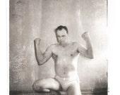 "Vintage Snapshot ""Bodybuilder"" Muscular Man Flex Biceps Shirtless Found Vernacular Photo"