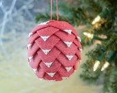 Christmas Ornament made from woven natural red and white ribbon Handmade holiday folded ribbon bauble for Christmas tree Gift idea for mom
