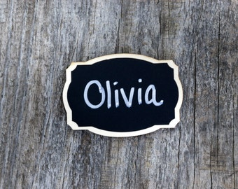 6 Chalkboard Name Tags, Business Name Tags,Reusable Magnetic Name Tags for Coffee Shop,Office Parties,Meeting,Corporate Events