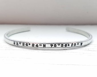 Coordinates Bracelet, Latitude and Longitude Bracelet, Handstamped Bracelet