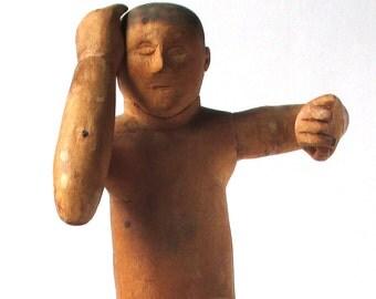 Primitive Folk Art Figure Sculpture, Outsider Artist, Art Brut, sculpture, dancer, wood carving, American Folk Art wood sculpture