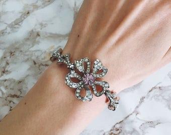 Vintage 1960s Mitchel Maer For Christian Dior Rhinestone Paste Floral Bracelet