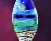 Super Moon Handmade Lampworked Glass Bead OOAK Blue Teal Ivory Black Silver Pressed Shield Focal Lampwork