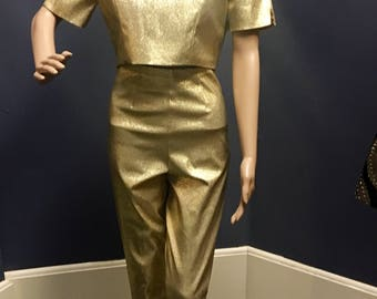 Vintage 1950s 1960s Gold Lame Pants and Crop Top by Simonds Sportswear of CA Small 26