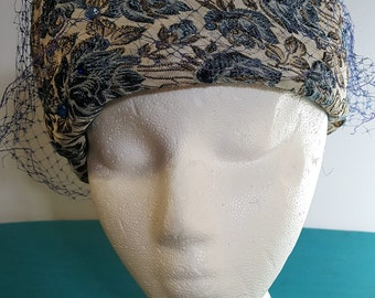 Blue and Gold Floral Hat 1960s Arnold Constable