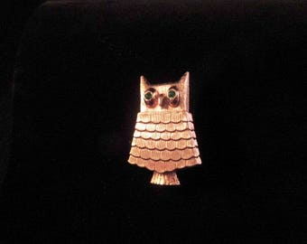 Vintage Avon Owl Brooch/Pin/Solid Perfume Glace/1968