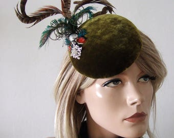 "Olive Green Velvet Pheasant + Peacock Button Cocktail Hat Headpiece Fascinator ""Rita"" Winter Wedding Racing Guest Fashion Mother the Bride"