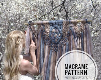 Macrame Pattern | Yarn Wall Hanging Boho Tapestry / Bohemian Home Decor Easy Macrame Project DIY Wool Hanging / Unique Home Decor Macrame