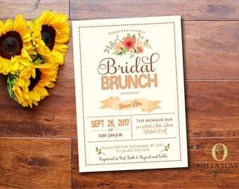 Fall Bridal brunch Invitation, Bridal Luncheon Invitations, Bridesmaids Brunch Invitation, Bridal Shower Invitation, DIY,