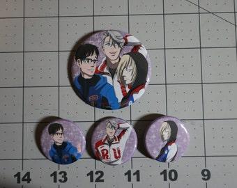 Set of Four YoI buttons - Viktor, Yuuri, Yurio - Yuri on Ice fanart