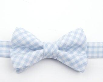 Baby Blue Gingham Bow Tie, blue gingham bow tie, blue check bow tie, light blue bow tie, men's bow tie, boy's bow tie, gingham bow tie, blue