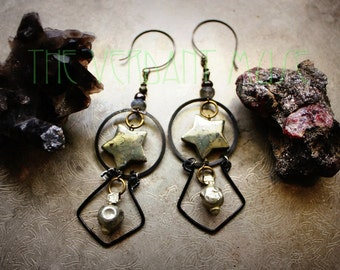 STAR Pyrite, Garnet & Labradorite Earrings- Black Wire and Tribal Geometric Alchemy Earrings Collection
