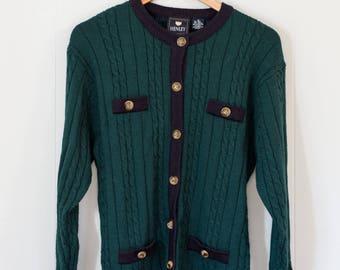 Vintage wool sweater / cardigan / green / navy / women's / Medium