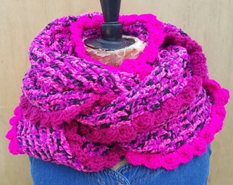 Chunky funky extra large infinity crochet scarf with ruffles