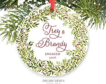 Our First Christmas Engaged Ornament Personalized Ornament Custom Engagement Gift Ceramic Ornament Wreath Christmas Ornament Gift for Couple