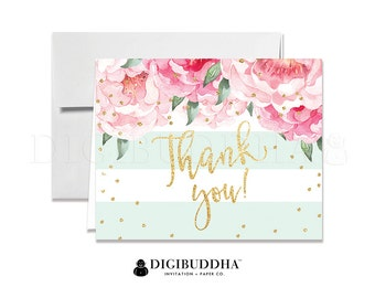 Floral Thank You Cards Baby Shower Thank You Note Cards Wedding Thank You Card Bridal Shower Thank You Cards Printed Thank You Card - Jenn