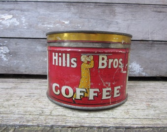 Vintage Tin Coffee Can Hills Bros Brothers Red San Francisco Metal Tin Storage Display Country Farm Retro Kitchen Rustic Primitive Vtg Old