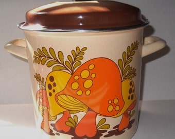 Vintage Metal Enamel Pot Mushroom Pot Orange and Yellow Mushrooms