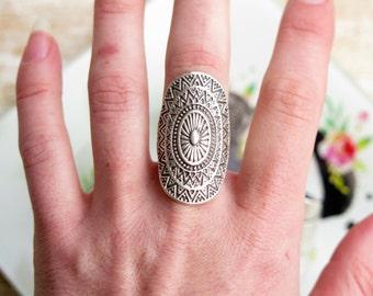 Silver Boho Statement Ring