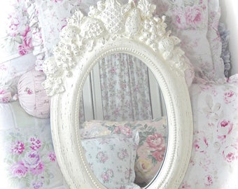 SUMMER SALE Shabby Off White Cream Baroque Ornate Unique Wall Mirror Scrolled Fruit Leaf Motif Topper Fancy Oval Face Frame Cottage Chic