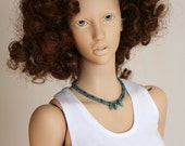 Sonam - unisex short doll necklace in teal