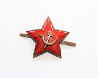 Vintage Soviet Union Red Star Button USSR
