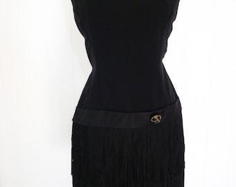 60's Fringe Dress Black Flapper Drop Waist Cocktail Party Dress S