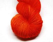"""Fingering Weight, """"Tangerine"""" Merino Wool Superwash Yarn, 4 oz, machine washable yarn"""