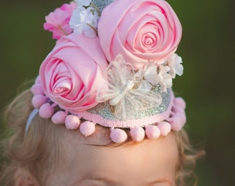 1st birthday hat - girls birthday hat - sparkle birthday hat - blush and silver hat - 2nd birthday hat - baby girl Birthday - Photo Prop