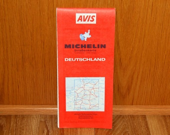 German Road Map - AVIS Michelin Deutschland StraBenkarte - Vintage 1980's Fold-out Map