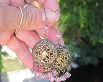 Gypsy Bohemian Brass and Swarovski Crystal Chandelier Earrings - Boho Hippie Pink Crystal Dangle Chandelier Earrings