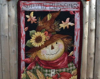 Art Quilt Wall Hanging Autumn Theme Folk Primitive Harvest Table Fall Decor Seasonal Banner Cornucopia Thanksgiving Autumn Blessings Decor