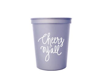 Silver with White Ink Plastic Cups - Cheers Y'all Party Cups - 16 oz. Stadium Cups - Cheers Ya'll