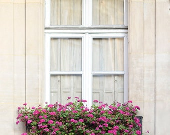 Paris Fine Art Photograph - Window and Geraniums Photo, Gallery Wall Art, Large Wall Art, Home Decor