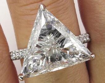 Magnificent Colorless 6.47ctw Trillion Diamond Engagement Pave Platinum Ring