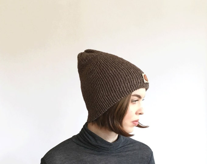 Reversible Two Layer Brownstone & Tan Slouchy Wool Knit Beanie Winter Hat