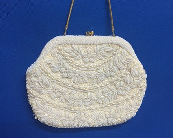 Vintage Bridal La Regale Cream Bead Pearl Handbag Evening Purse 1960's