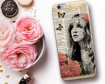 STEVIE Nicks Dictionary Art iPhone 7 Case, iPhone 7 Plus Case, Boho Gypsy Roses Floral Print iPhone 6s case, iPhone 6 plus 5 SE Cover